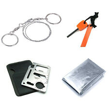 Outdoor Survival Tool Card Knif+Flintstones Fire Starter+Survival Blanket+Saw