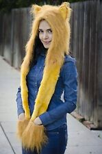 GOLDEN LION FAUX FUR ANIMAL HAT WITH PAWS