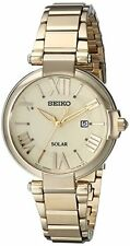 Seiko Women's Analog Gold-tone Solar Stainless Steel Watch SUT176
