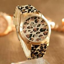 Unisex Silicone Leopard Print Jelly Gel Quartz Analog Wrist Watch