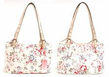 LADIES SUMMER  BEIGE PINK FLORAL HANDBAG LIGHT WEIGHT WEEKEND BAG SHOULDER BAG