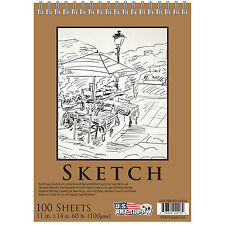 "11"" x 14"" Premium Spiral Bound Sketch Pad, Pad of 100-Sheets, 60 Pound (100gsm)"