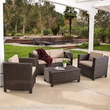 Outdoor Patio Furniture Brown PE Wicker 4pcs Sofa Seating Set