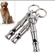 1x Dog Barking Training Whistle Ultrasonic Supersonic Stop Bark Keyring Silver D