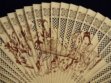 Hand Folding Pocket Purse Chinese Sandalwood Traditional Elegant Fan Geisha Lady