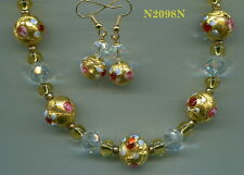 Venetian Moretti Gold Wedding Cake Bead & Swaro Crystal Necklace/Earring N2098