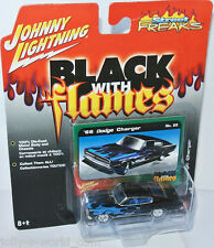 Black with Flames - 1966 DODGE CHARGER - 1:64 Johnny Lightning