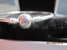 Authentic Pandora EXCLUSIVE LIMITED EDITION PINK RIBBON BANGLE 590725CZS 17cm