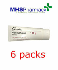 6 x Aqueous Cream 100g Tube for Dry Skin use as moisturiser, emollient, or soap