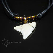 REAL SHARK TOOTH JAWS BROWN NEON EARTH GLASS BEADED NECKLACE CORD SURFING  C5