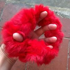 red real genuine rabbit fur elastic stretchy hair band bobble tie scrunchies