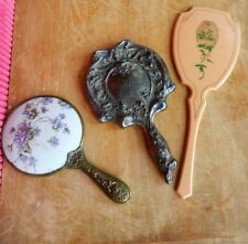 3 Antique Lady Hand Mirrors Porcelain, Plated name Mae & Lucite all need Mirrors