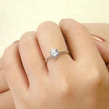 Fashion 925 Sterling Silver Four Claw Zircon Opening Adjustable Couple Ring Gift