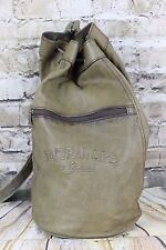 Vintage Giovanni Genuine Leather Cross Body Duffle Shoulder Bag Canvas Strap