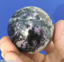 100% 64mm + Stand Glow Dark Stone crystal Fluorite sphere ball SPAR  A+