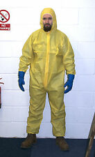 Yellow Hazmat Chemical Suit Costume & Blue Rubber Gloves Fancy Dress Heisenberg
