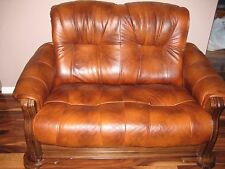 Leather Wood Sleeper  Loveseat Bed Furniture light brown