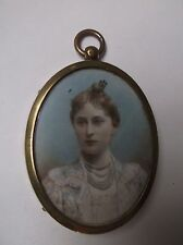 FRAMED MINIATURE PAINTING ON PANEL 1860 A LADY IN HER FINEST WEARING PEARLS