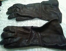 Antique dark brown leather gauntlet long  ladies driving ? gloves .. FILM  PROP