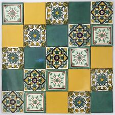 Pack of 25 Assorted Mexican Handmade 10.5cm Talavera Tiles: 'Fresco'