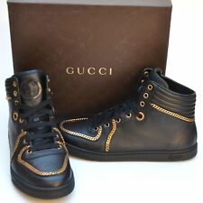 GUCCI New sz 39 G - US 9.5 Auth Womens High Top Gold Chain Shoes Sneakers black