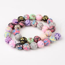 1Strand 12mm Mixed Handmade Polymer Clay Round Ball Beads Colorful Jewelry 34pcs