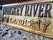 Personalized Bar Sign Cabin Lake House Decor Beer Mug Custom Carved Wood Plaque