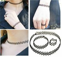 Tattoo Choker Stretch Necklace/SET Black Retro Henna Vintage Elastic Boho80s 90s