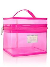 Victoria Secret PINK Makeup Train Travel Cosmetic Cruise School clear case neon
