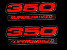 VMS 2 CHEVY 350 SUPERCHARGED ENGINE BLOCK ALUMINUM EMBLEMS RED BLACK PAIR SBC