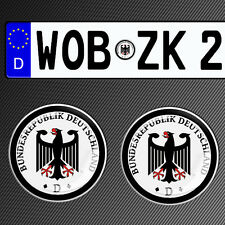 2 GERMAN NUMBER PLATE STICKER 3D CAR BADGE SEAL DEUTSCHLAND GERMANY PLAKETTE G17