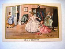 "Vintage ""Pauli Ebner"" Postcard w/ Children Having Clothes Made  *"