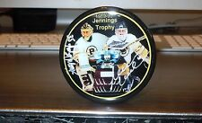 REGGIE LEMELIN ANDY MOOG BOSTON BRUINS AUTOGRAPHED PHOTO PUCK JENNINGS TROPHY