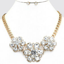 "LUSH Statement  Gold  BIG 2"" Flower Crystal  Necklace & Earrings Rocks Boutique"