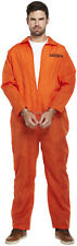 Mens Orange Convict Boiler Suit Chain Gang Prisoner Jumpsuit Fancy Dress Costume