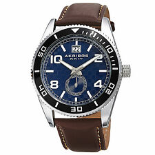 New Men's Akribos XXIV AK859BU Blue Dial Rotating Bezel Brown Leather Watch