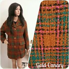Vintage 60's Green Brown Tweed Checked Wool Pea Jacket Coat Mod 12 14 40 42