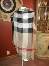 Burberry London 220cm x 90 cm Giant Check Wool/ Silk Gauze Scarf Wrap Camel