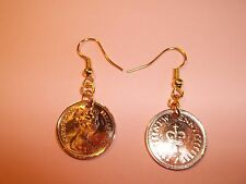 HALF PENCE COIN DROP EAR RINGS, 1971 - 1982, CHOOSE YOUR YEAR