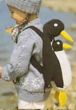 child sweater and hat penguin bag /toy  dk  knitting pattern 99p