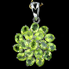 Sterling Silver 925 Genuine Natural Peridot Oval Faceted Cluster Pendant