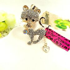 Betsey Johnson Mosaic crystal Lovely cat chain Fashion charm long necklace BB87