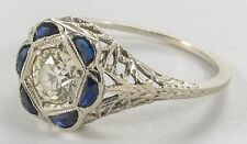 Antique Art Deco 18K 0.60ct  Diamond & Sapphire Frame Engagement Ring