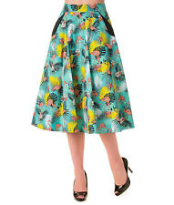 S BLUE VINTAGE FLAMINGO TROPICAL SKIRT RETRO SPRING 10 ROCKABILLY FLORAL RETRO