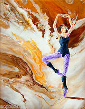 Original Acrylic Abstract Ballerina Painting -Practice Only - New, Artist Signed