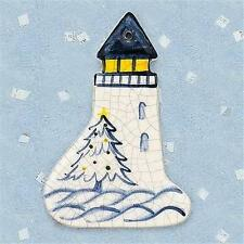 Brick Pond Handworks Handcrafted and Painted Lighthouse W/Tree  Ornament COL-118