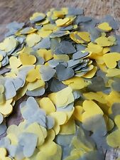 GREY & YELLOW HEARTS CONFETTI ROMANTIC WEDDING DECORATION/THROWING/ECO 2 HANDFUL