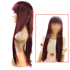 Sexy Vogue Wine Red Long Straight Cosplay Party Women's Lady's Full Hair Wig