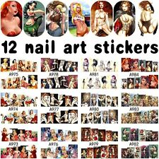 12 Sheets sexy lady design water transfer nail art decortion sticker decals A984