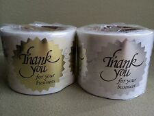 """Thank You For Your Business Sticker Label Starburst Bright Gold+Silver 1/2"""""""